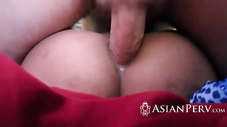 Shaved asian cunt getting nailed by large schlong